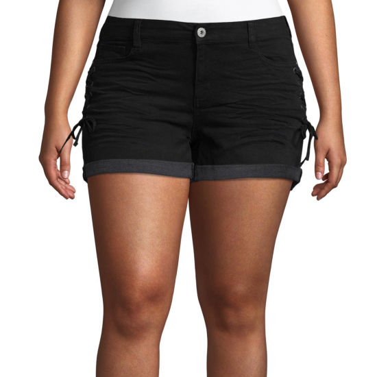 "Arizona 2 1/2"" Side Tie Denim Shorts-Juniors Plus"