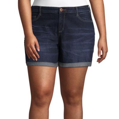 """Arizona 4 1/2"""" Roll Cuff Midi Shorts-Juniors Plus"""