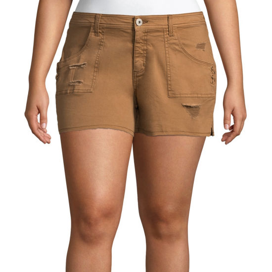 "Arizona 2 1/2"" Lace Up Shorts-Juniors Plus"