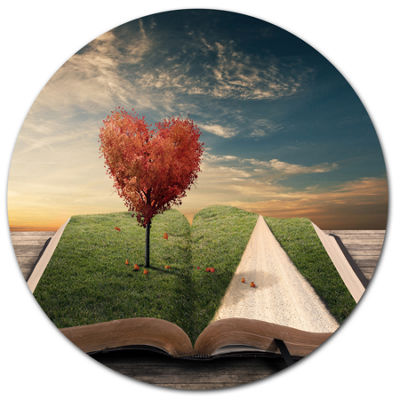 Design Art Amazing Heart Tree and Book Large Abstract Metal Artwork