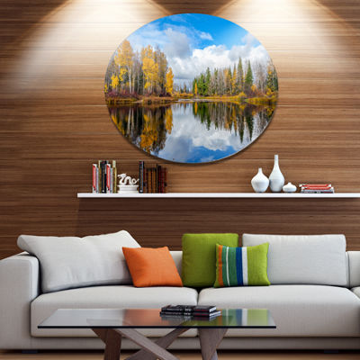 Design Art Nice Autumn Trees With Forest Lake Landscape Metal Circle Wall Art