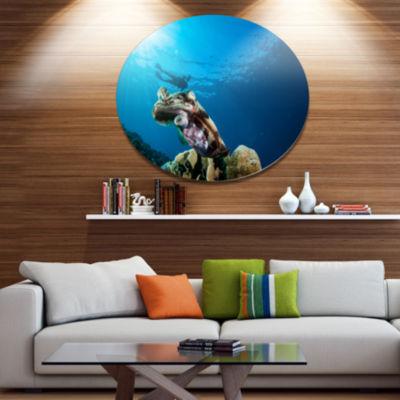 Design Art Broadclub Cuttlefish Underwater Large Seashore Metal Circle Wall Art