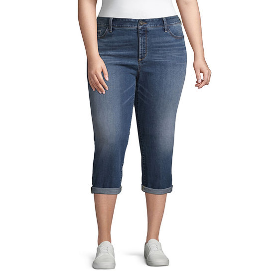 St. John's Bay® Rolled Denim Crop - Plus