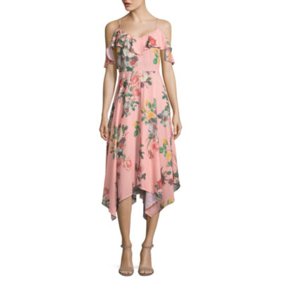 Belle + Sky Short Sleeve Cold Shoulder Ruffle Dress
