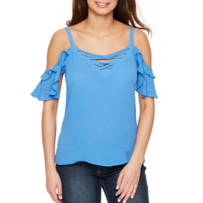 Bold Elements Short Sleeve Cold Shoulder Lace Up Top