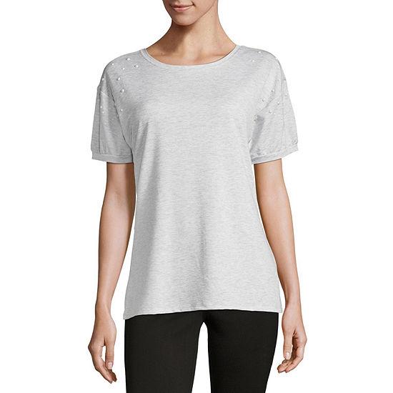 Como Blu Puff Sleeve Pearl Embellished T-Shirt-Womens
