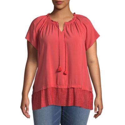 St. John's Bay® Short Sleeve Split Neck Peplum Blouse - Plus