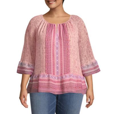 St. John's Bay® 3/4 Sleeve Soft Peplum Blouse - Plus