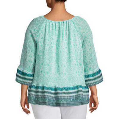 St. John's Bay® 3/4 Sleeve Soft Peplum Blouse - Plus