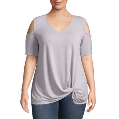 Boutique + Short Sleeve Cold Shoulder Knot Front Knit Blouse - Plus