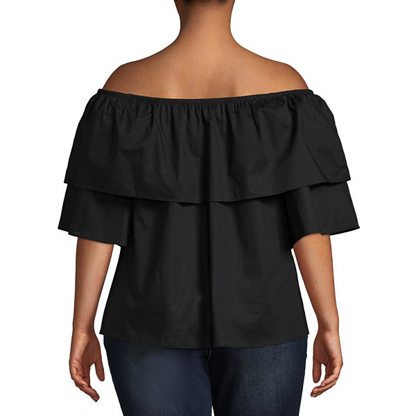Boutique + 3/4 Sleeve Off the Shoulder Woven Blouse - Plus