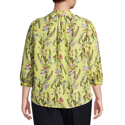 Worthington 3/4 Sleeve Split Crew Neck Print Woven Blouse - Plus
