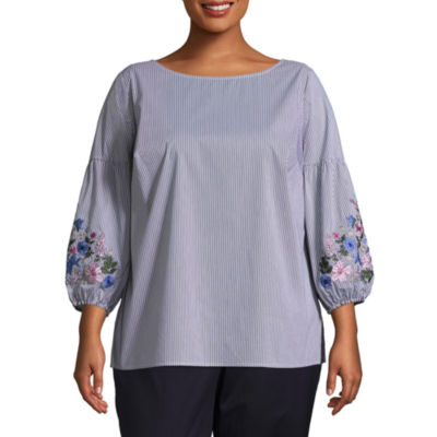 Liz Claiborne 3/4 Puff Sleeve Shirting Blouse- Plus