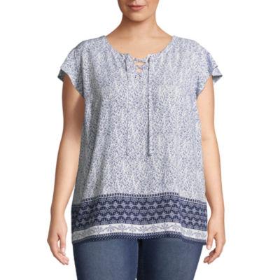 Liz Claiborne Short Flutter Sleeve Lace-Up Top- Plus
