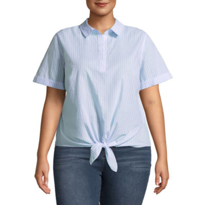 a.n.a Short Sleeve Knot Front Woven Blouse - Plus
