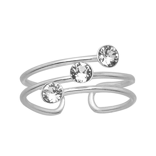 Itsy Bitsy Womens Diamond Accent Sterling Silver Delicate Stretch Ring