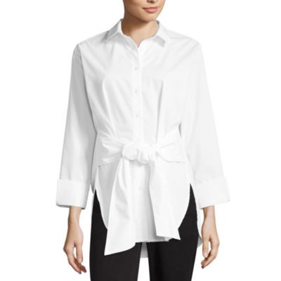 Worthington Front Tie Button Up - Tall