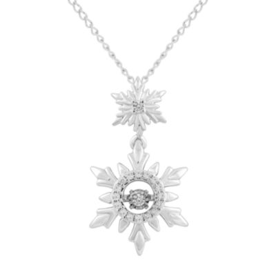 Enchanted Disney Fine Jewelry Womens 1/10 CT. T.W. Genuine White Diamond Sterling Silver Snowflake Frozen Pendant Necklace