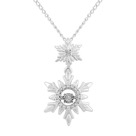 Enchanted Disney Fine Jewelry Womens 1/10 CT. T.W. Genuine White Diamond Sterling Silver Snowflake Frozen Pendant Necklace
