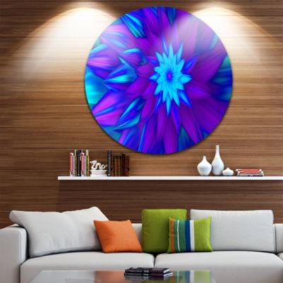 Design Art Dance of Blue Flower Petals Floral Round Circle Metal Wall Art