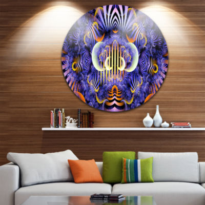 Design Art Magical Fairy Pattern Illustration Floral Round Circle Metal Wall Art