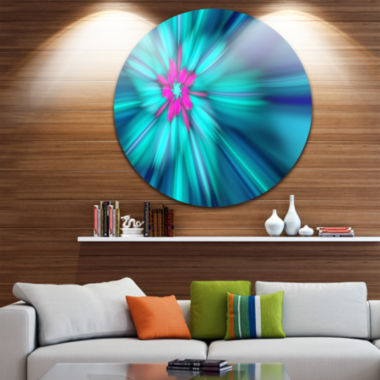 Design Art Rotating Blue Fireworks Floral Round Circle Metal Wall Art