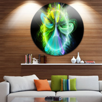 Design Art Green Fractal Vortices of Energy FloralRound Circle Metal Wall Art