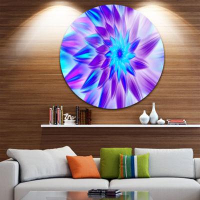 Design Art Exotic Blue Flower Petals Floral RoundCircle Metal Wall Art