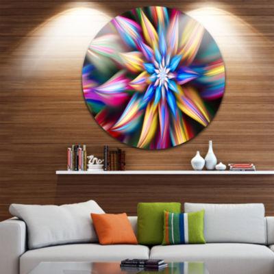 Design Art Exotic Multi Color Flower Petals FloralRound Circle Metal Wall Art