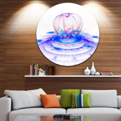 Design Art Spectacular Blue 3D Surreal Art FloralRound Circle Metal Wall Art