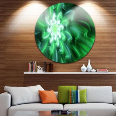 Design Art Large Green Exotic Flower Petals FloralRound Circle Metal Wall Art