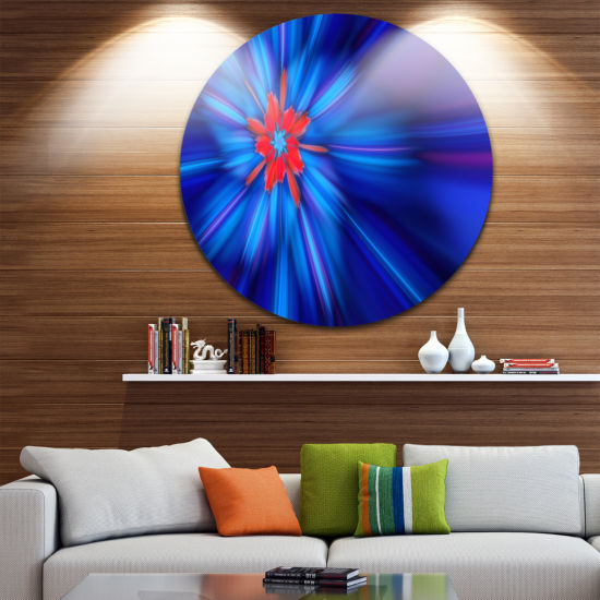 Design Art Rotating Fractal Blue Fireworks FloralRound Circle Metal Wall Art