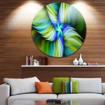Design Art Rotating Fractal Green Star Floral Round Circle Metal Wall Art