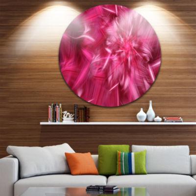 Design Art Rotating Fractal Pink Fireworks FloralRound Circle Metal Wall Art