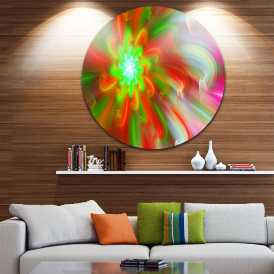 Design Art Dance of Red Fractal Flower Petals Floral Round Circle Metal Wall Art