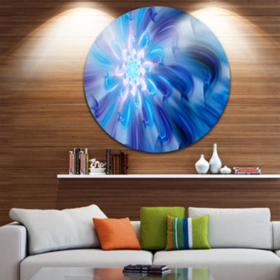 Design Art Dance of Blue Fractal Flower Petals Floral Round Circle Metal Wall Art