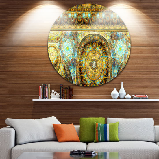 Design Art Brown Extraterrestrial Life Cells Floral Round Circle Metal Wall Art