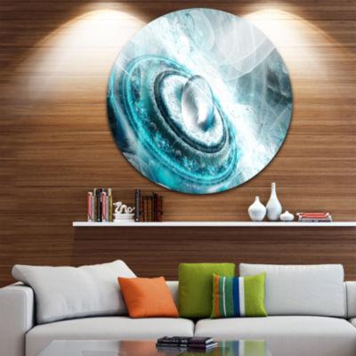 Design Art Blue Fractal Flying Saucer Floral RoundCircle Metal Wall Art