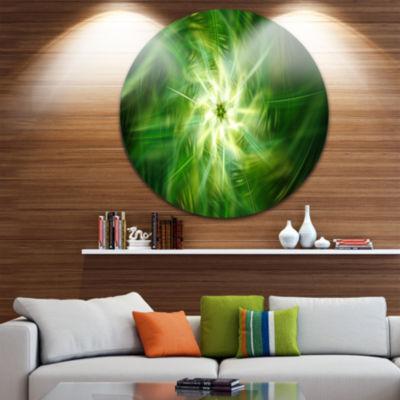 Design Art Rotating Fractal Green Fireworks FloralRound Circle Metal Wall Art