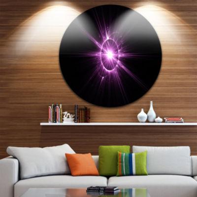 Design Art Purple Flash of Bright Star Floral Round Circle Metal Wall Art