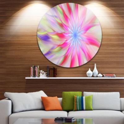 Design Art Dance of Pink Exotic Flower Floral Round Circle Metal Wall Art