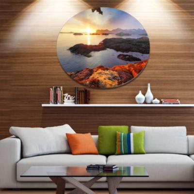 Design Art Ocean Coast Nice Sunset in Norway LargeSeashore Metal Circle Wall Art