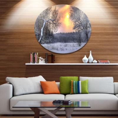 Design Art Winter Landscape with Yellow Sun Landscape Metal Circle Wall Art