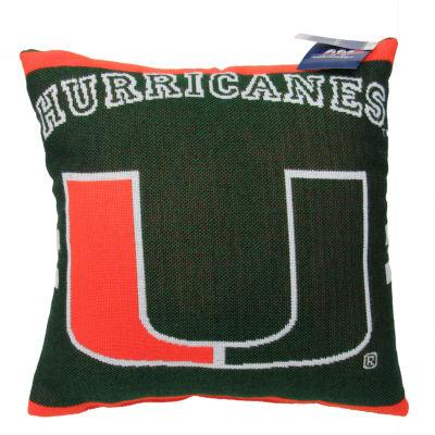 NCAA University Of Miami Square Throw Pillow