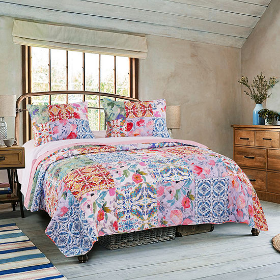 Greenland Home Fashions Joanna Garden Floral Reversible Quilt Set