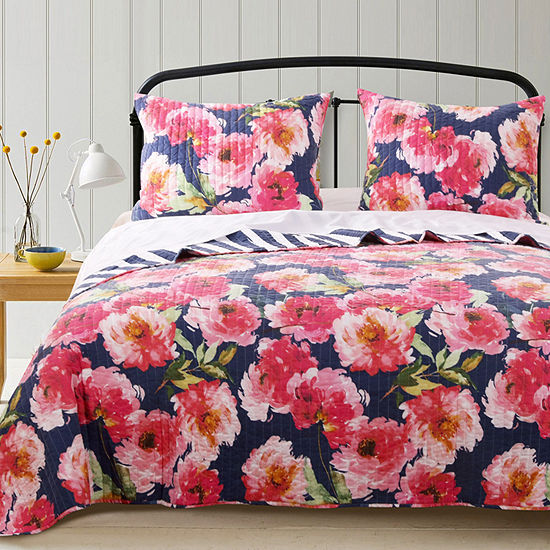 Barefoot Bungalow Peony Floral Reversible Quilt Set