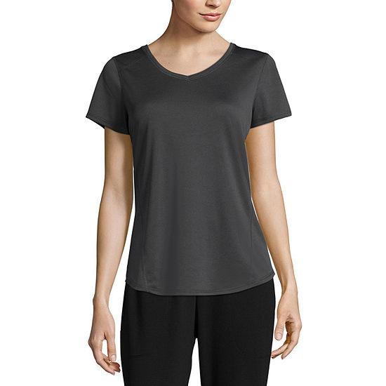 St. John's Bay Active Petite-Womens V Neck Short Sleeve T-Shirt