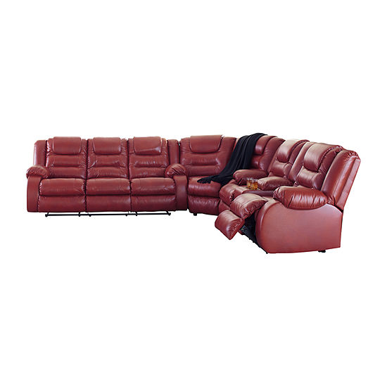 Signature Design By Ashley Rustin 3 Pc Faux Leather Sectional