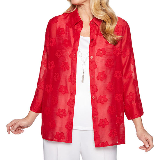 Alfred Dunner Classics Womens 3/4 Sleeve Layered Top