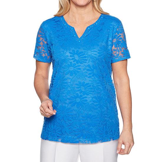 Alfred Dunner Classics-Womens Split Crew Neck Short Sleeve T-Shirt